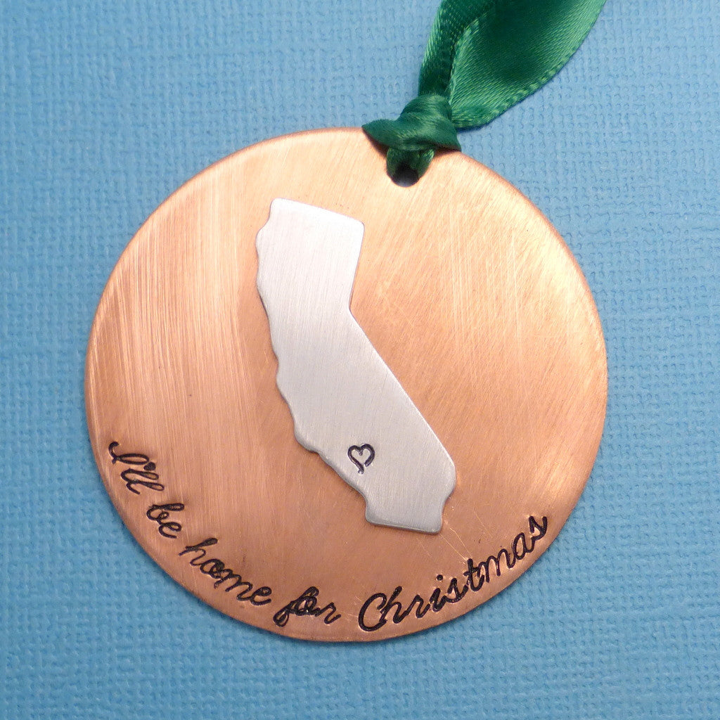 I'll be home for Christmas - Custom w/ Any State or 1 of several Continents/Countries (inc. Africa, Australia, etc) A Hand Stamped Ornament