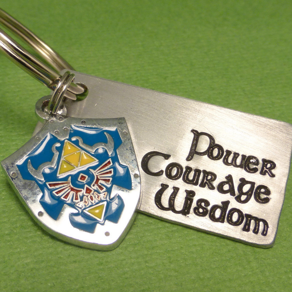 Zelda Inspired - Power. Wisdom Courage - A Hand Stamped Keychain in Aluminum or Copper w/ Hyrule Shield Charm