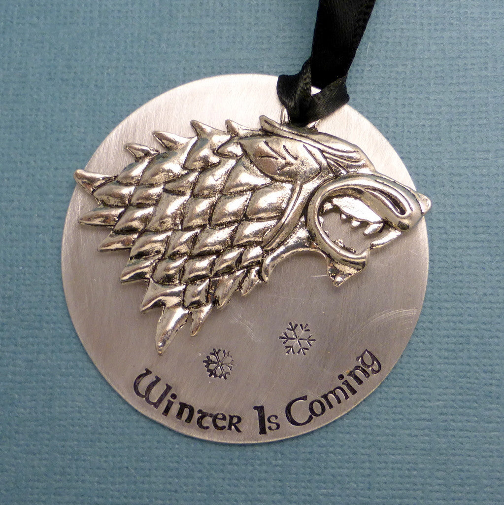 Game of Thrones Inspired - Winter Is Coming - A Hand Stamped Ornament
