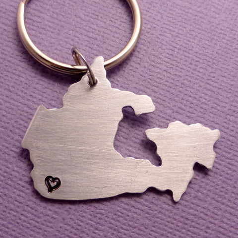 My heart belongs in Canada - A Hand Stamped Aluminum Keychain