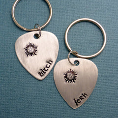 SHOP EXCLUSIVE - Supernatural Inspired - Bitch & Jerk - Hand Stamped Aluminum Guitar Pick Keychain