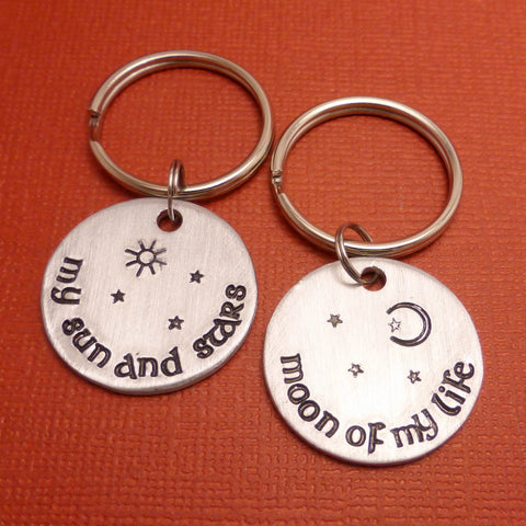 Game of Thrones Inspired - My Sun And Stars and Moon Of My Life - Hand Stamped Keychains