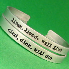 Bioshock Infinite Inspired - Lives, Lived, Will Live & Dies, Died, Will Die - A Set of 2 Hand Stamped Bracelets in Aluminum or Sterling Silver