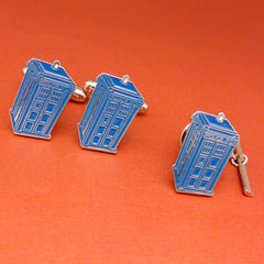 Doctor Who Inspired - Police Box Gift Set - Pair of Enameled Cufflinks & Tie Tack