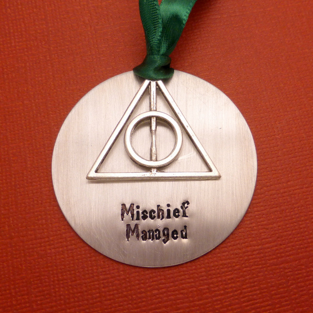 Harry Potter Inspired - Mischief Managed - A Hand Stamped Aluminum Ornament
