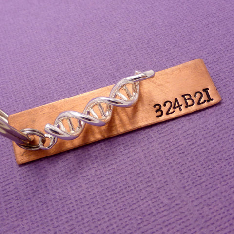 Orphan Black Inspired - 324B21 - A Hand Stamped Keychain in Aluminum or Copper w/DNA Charm
