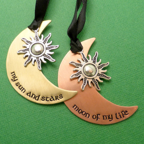 Game of Thrones Inspired - My Sun And Stars and Moon Of My Life - A Set of 2 Hand Stamped Ornaments