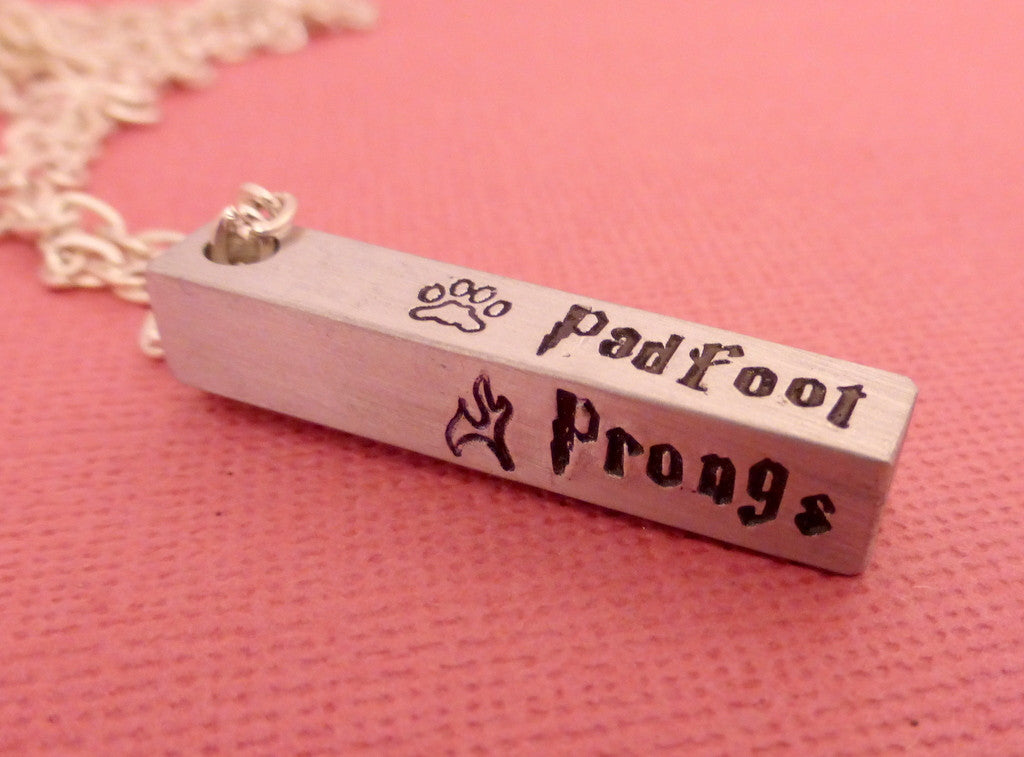 Harry Potter - The Marauders - A Hand Stamped Aluminum Bar Necklace