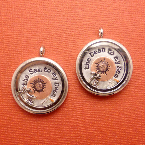 Supernatural Inspired - Sam to my Dean & Dean to my Sam- A Set of 2 Floating Locket / Memory Locket / Living Locket