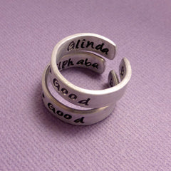 Wicked Inspired - For Good - A Set of 2 Double Sided Hand Stamped Aluminum Rings