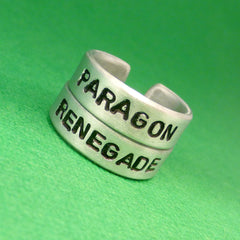 Mass Effect Inspired - Paragon and Renegade - A Pair of Hand Stamped Aluminum Rings