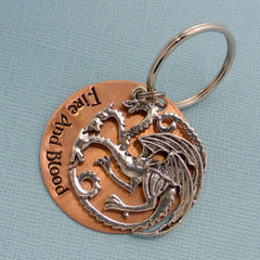Game Of Thrones - Fire And Blood - A Hand Stamped Keychain in Aluminum or Copper