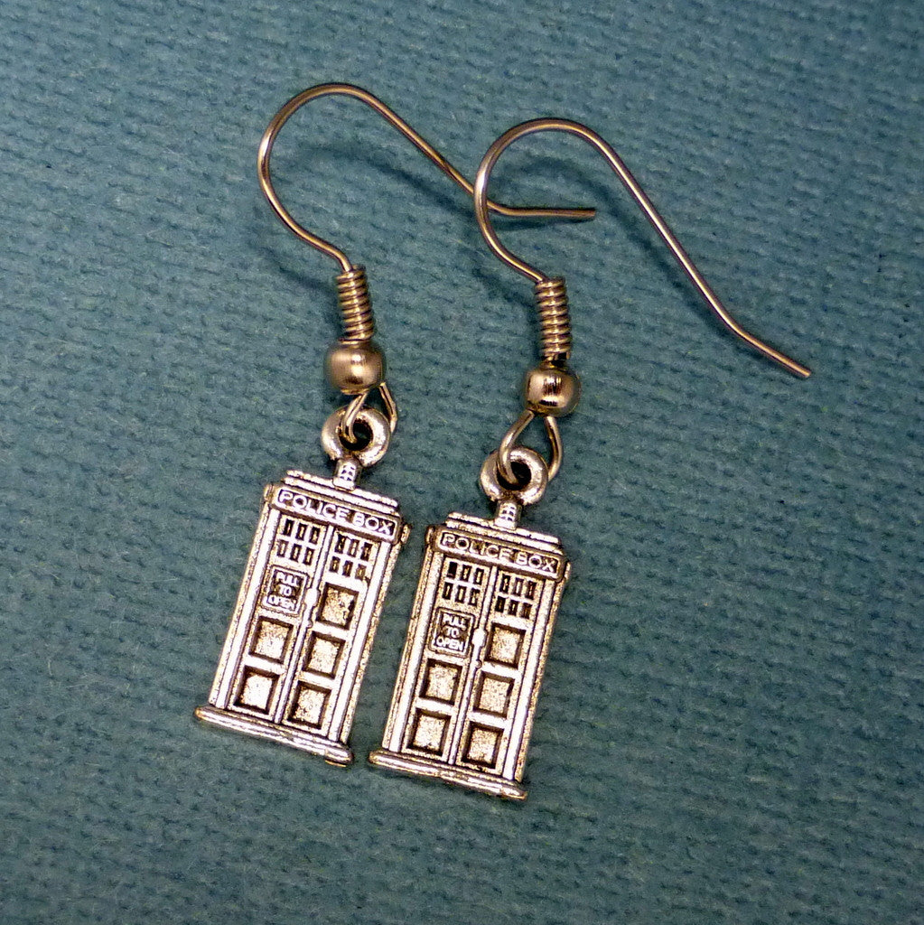 Doctor Who Inspired - TARDIS- A Pair of Earrings