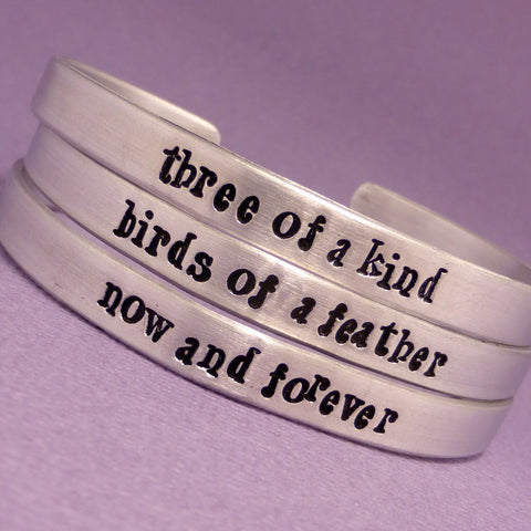 Nightmare Before Christmas Inspired - Three of a Kind, Birds of a Feather Now and Forever - Set of 3 Hand Stamped Friendship Bracelets