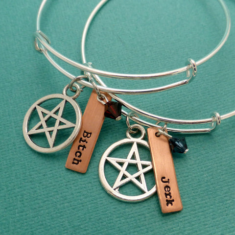 Supernatural Inspired - Bitch & Jerk - An Adjustable Bangle Bracelet