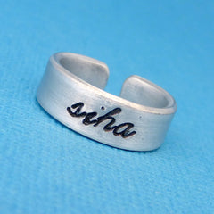 Mass Effect Inspired - Siha - A Hand Stamped Aluminum Ring