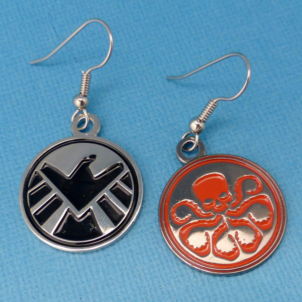 Marvel Inspired - SHIELD & HYDRA - A Pair of Enameled Disc Earrings