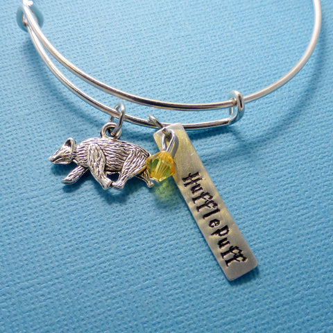 Harry Potter Inspired - Hufflepuff - Adjustable Bangle Bracelet