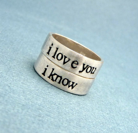 Star Wars Inspired Rings - I Love You & I Know - Set of 2 SOLID (not soldered) Sterling Silver Rings - Wedding Bands, His and Hers Rings