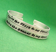 The Avengers Inspired - Stark to my Banner & Banner to my Stark - A Set of 2 Hand Stamped Bracelets in Aluminum or Sterling Silver