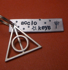 Harry Potter Inspired - Accio Keys (DH) - A Hand Stamped Aluminum or Aluminum Keychain w/ Deathly Hallows Charm