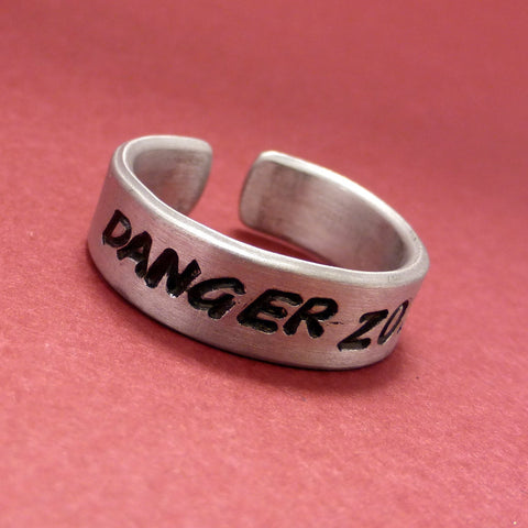 Archer Inspired - Danger Zone - A Hand Stamped Aluminum Ring