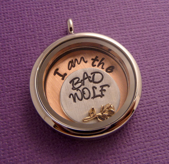 Doctor Who Inspired - I am the BAD WOLF - A Floating Locket / Memory Locket / Living Locket