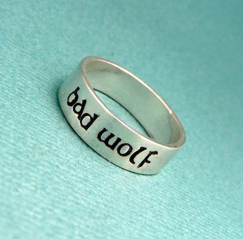 Doctor Who Inspired - Bad Wolf - A Hand Stamped SOLID (not soldered) Sterling Silver Ring