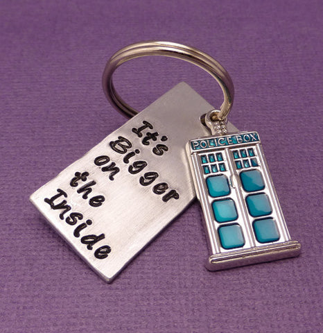 Doctor Who Inspired - It's Bigger On The Inside - A Hand Stamped Aluminum Keychain