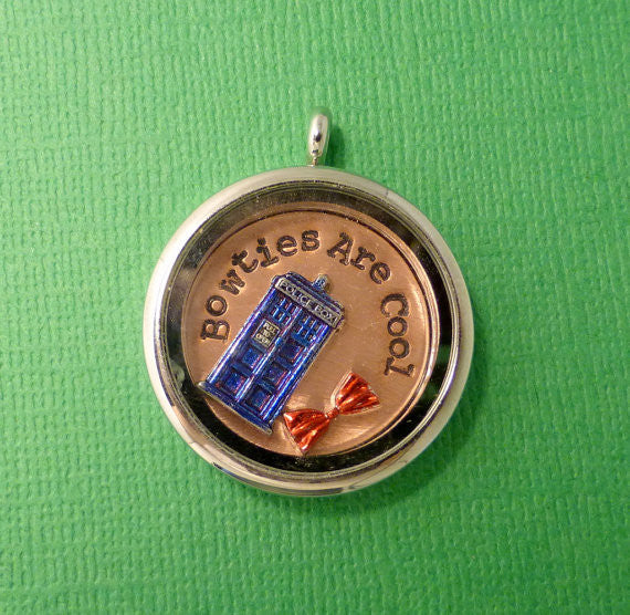 Doctor Who Inspired - Bowties Are Cool - A Floating Locket / Memory Locket / Living Locket