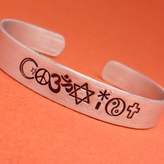 Charity Series - COEXIST - A Hand Stamped Aluminum Bracelet