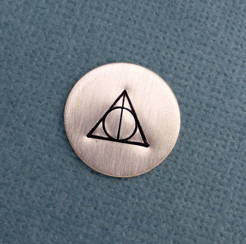 Harry Potter Inspired - The Sign of the Deathly Hallows - Disc / Charm in Aluminum, Copper or Brass - Floating / Memory / Living Locket