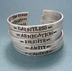 Divergent Inspired - Faction - Divergent, Dauntless, Abnegation, Amity, Candor or Erudite - CHOOSE ONE Double Sided Bracelet in Aluminum or Sterling Silver