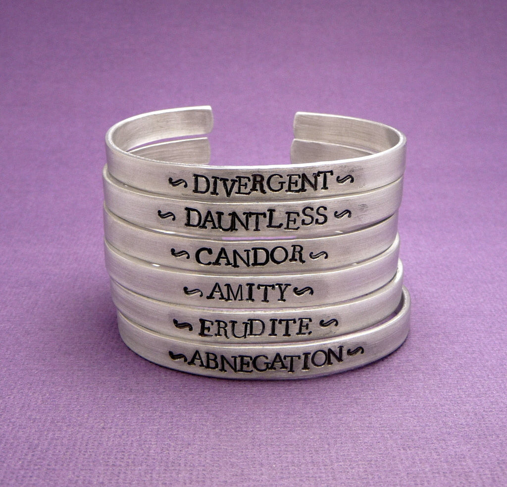 Divergent Inspired - Faction (CHOOSE ONE) - Divergent, Dauntless, Abnegation, Amity, Candor or Erudite - A Hand Stamped Bracelet