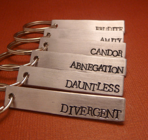 Divergent Inspired - (CHOOSE ONE Faction) - Divergent, Dauntless, Abnegation, Amity, Candor or Erudite - A Hand Stamped Aluminum Keychain