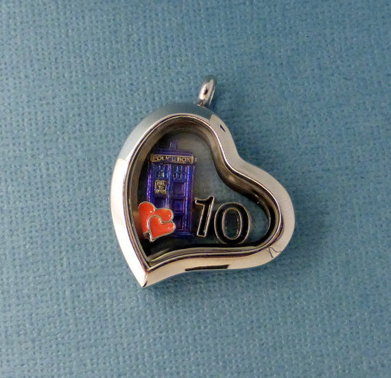 Doctor Who Inspired - Love My Doctor - A Floating Locket / Memory Locket / Living Locket