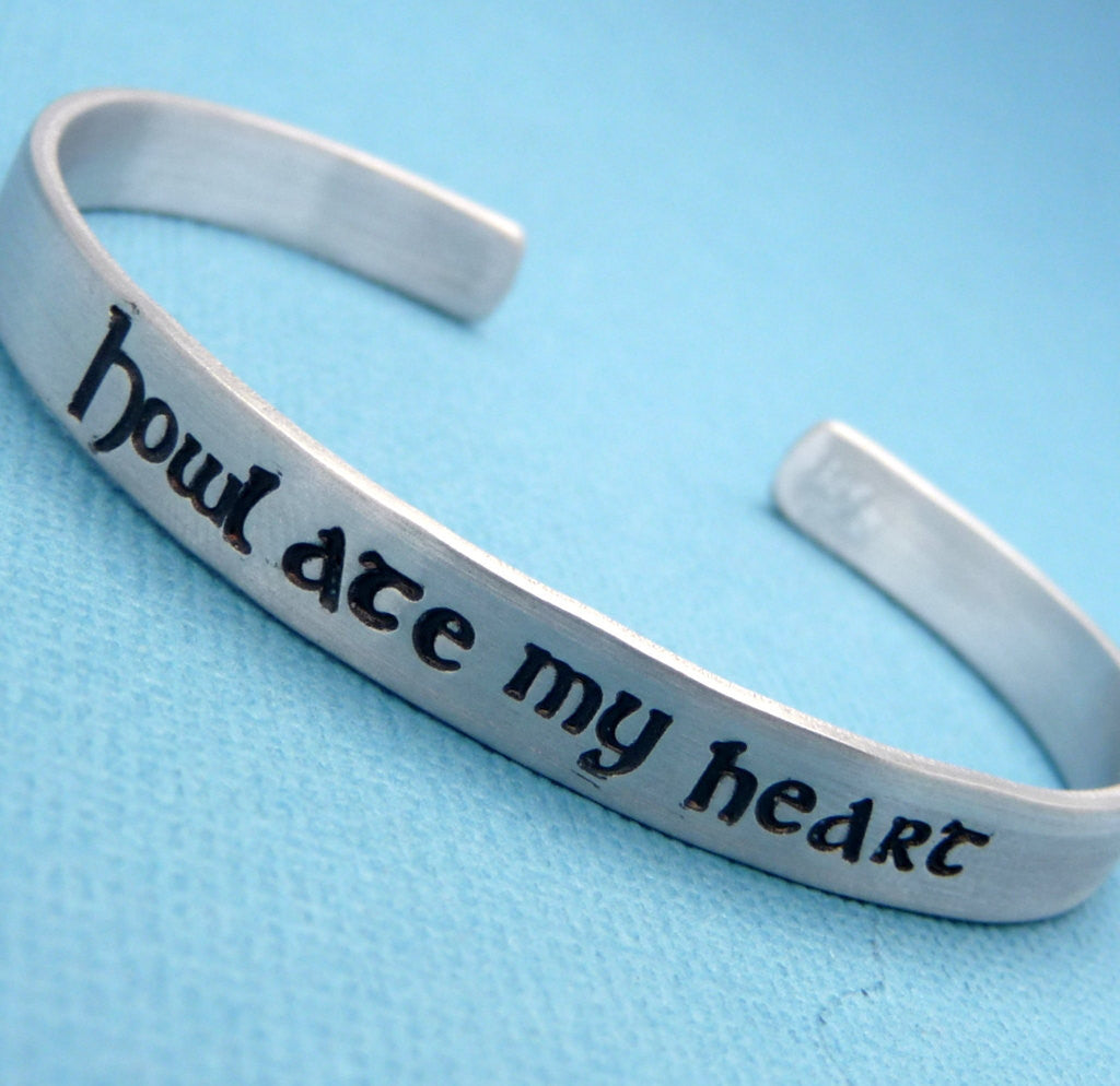 Howl's Moving Castle Inspired - Howl Ate My Heart - A Hand Stamped Bracelet in Aluminum or Sterling Silver