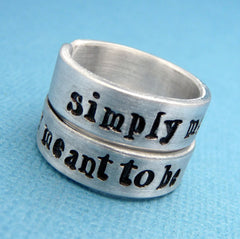 Nightmare Before Christmas Inspired - Simply Meant To Be - A Pair of Hand Stamped Aluminum Rings