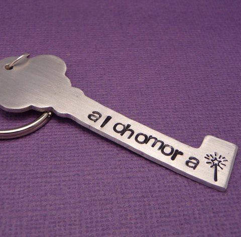 Custom ONE SIDED Hand Stamped Key Shaped Keychain