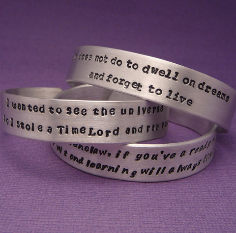 Custom Hand Stamped on ONE SIDE 1/2 inch  Aluminum Cuff Bracelet