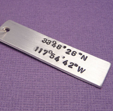 Latitude & Longitude Custom Hand Stamped Keychain in Aluminum or Copper
