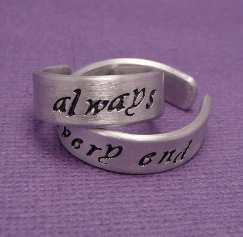 Harry Potter Inspired - Always & Until The Very End - A Pair of Hand Stamped Aluminum Rings