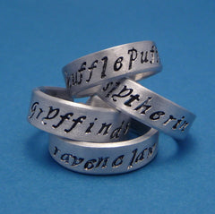 Harry Potter Inspired - Choose ONE - Gryffindor, Slytherin, Huffepuff, and Ravenclaw - A Hand Stamped Aluminum Ring