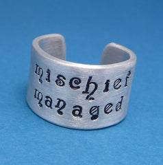 Harry Potter Inspired - Mischief Managed - A Hand Stamped Aluminum Ring