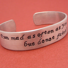 Jane Austen Inspired - Run Mad Hand Stamped Aluminum Cuff Bracelet