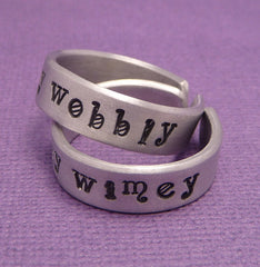 Doctor Who Inspired - Wibbly Wobbly & Timey Wimey - A Pair of Hand Stamped Aluminum Rings