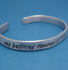 Harry Potter Inspired - Wit Beyond Measure Is Mans Greatest Treasure - A Hand Stamped Aluminum Bracelet