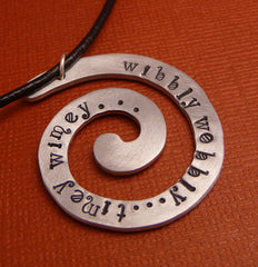 Doctor Who Inspired - Wibbly Wobbly...Timey Wimey... - A Hand Stamped Aluminum Spiral Necklace