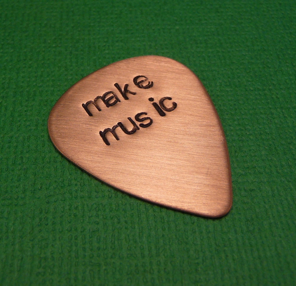 Custom Hand Stamped Copper Guitar Pick