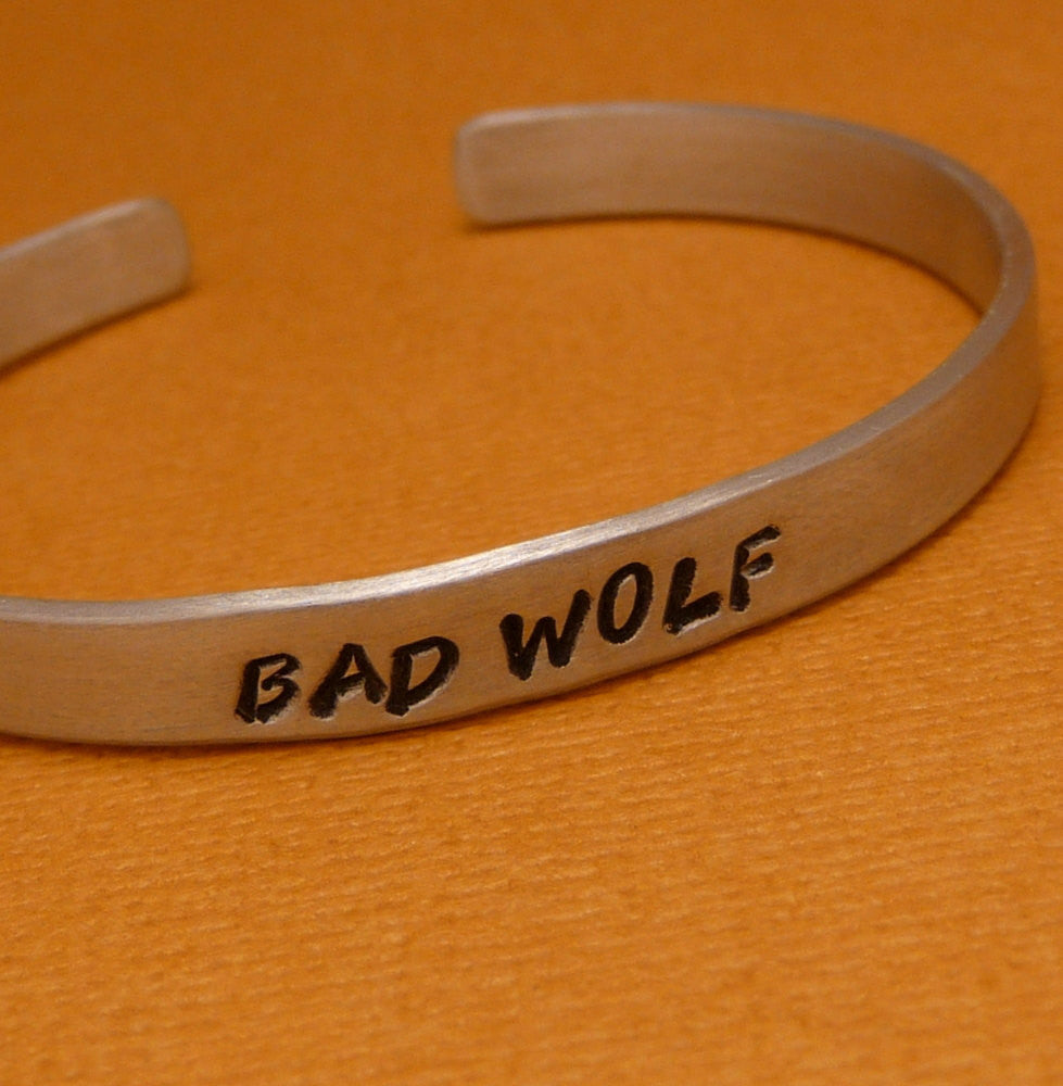Doctor Who Inspired - Bad Wolf - A Hand Stamped Bracelet in Aluminum or Sterling Silver